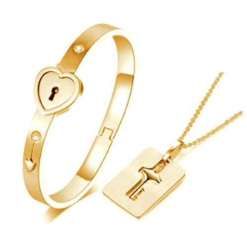 1a0fa16095 Amazon.com  Carffany Heart Lock Love Bracelet Bangle Key Necklace Men Women  Couple Lover Jewelry Set Rose Gold White Silver (Gold)  Jewelry