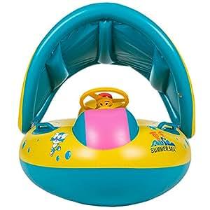 willcomes bebés niños sombrilla hinchable natación peces flotador Anillo de natación piscina baño barco seguridad con toldo y cuerno, Amarillo: Amazon.es: ...