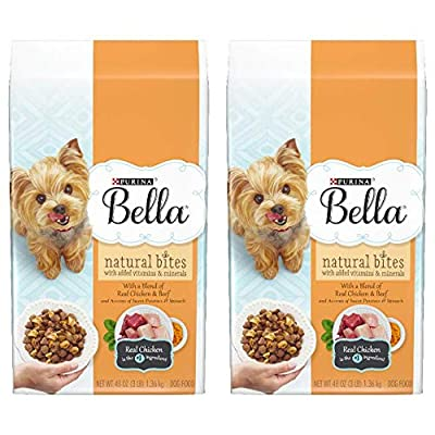 2 Bags of Purina Bella Natural Bites with Real Chicken & Beef Plus Vitamins & Minerals Adult Dry Dog Food - 3 lb.ea