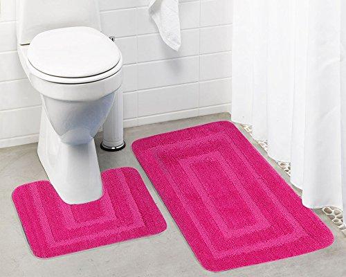 Lushomes Anti Slip Microfiber Polyester Pink Extra Large Bath Mat Set  Bathmat: 19 x 30 , Contour: 19 x 18