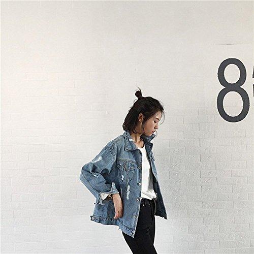 Lunga Jeans Jacket Outerwear Moda Donna Ragazze Denim Cappotti Giacca Minetom Blu Cappotto Casuale Manica Capispalla Pulsante qYPw77U