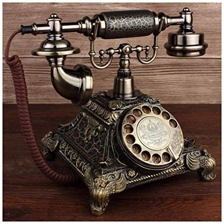 Ro6ph Tocadiscos Retro de Bronce Europeo con rotación Creativa, teléfono Antiguo para el jardín, el hogar, la Oficina, teléfono Fijo: Amazon.es: Hogar