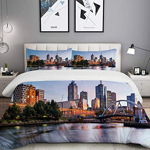 LUNASVT 3PC Bedding Set City Morning Australia River Print 1 Duvet Cover with 2 Matching Pillowcases Home Bedroom Decor King (Comforter Sets King Australia)