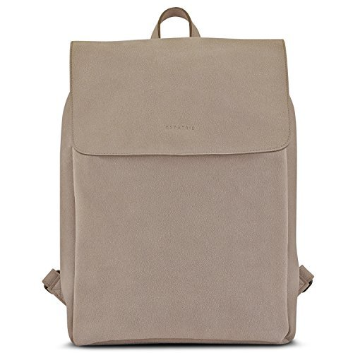 """Backpack Women Beige - Expatrié """"Noelle"""" Rucksack made from Faux Leather - Small Womens Day Tote made from Long Lasting Artificial Leather - Modern 9 Liter Bag with Magnetic Clasp"""