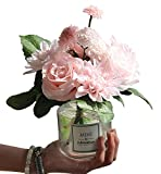 LeLehome Bridal Bouquet Flower Arrangement Home Decorative Real Touch Silk Artificial Flowers- Rose,for Daisy,Dahlia,Wedding Decoration,Hotel Party Garden-Pink