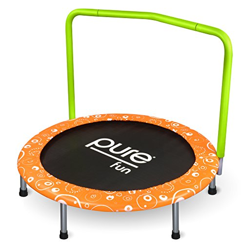 - Pure Fun Foldable Kids Trampoline with Handrail