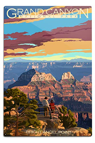 - Lantern Press Grand Canyon National Park, Arizona - Bright Angel Point (12x18 Aluminum Wall Sign, Wall Decor Ready to Hang)