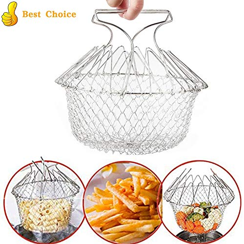 Chef Turkey - Foldable Fry Basket, Stainless Steel Chef Basket, Multi Function Folding Basket, Strainer Net Kitchen Cooking Tool for Fried Food or Fruits