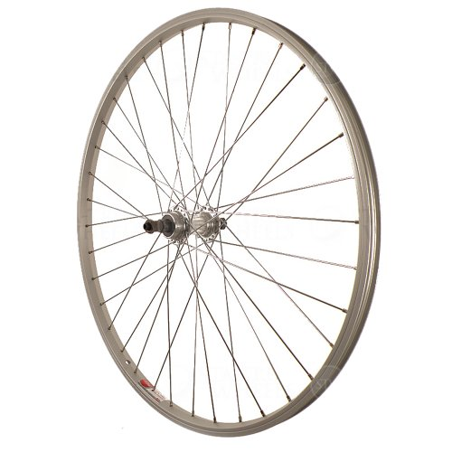 Sta-Tru Silver Alloy ATB 6-7 Speed Freewheel Hub Quick Release Rear Wheel (26X1.5-Inch) (Rear Rim)