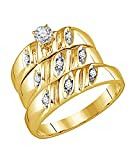 White Natural Diamond Wedding & Engagement Trio Band Ring Set In 14k Gold Over Sterling Silver (0.13 Cttw)
