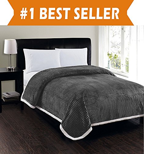 Elegant Comfort Best, Softest, Luxury Micro-Sherpa Blanket on Amazon! Heavy Weight Stripe Design Ultra Plush Blanket, Full/Queen, Gray (Sherpa Quilt Fleece)