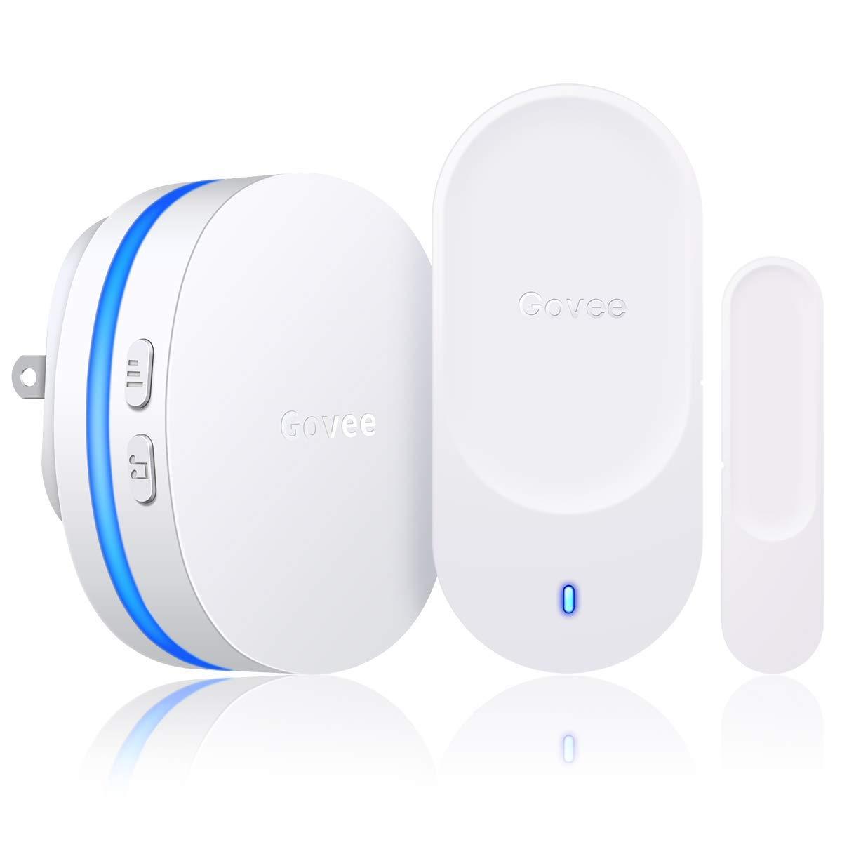 Govee Door Open Chime, Wireless Door Chime Home Security Alarm Sensor - 1 Magnetic Door Security Contact Sensor, 1 Wireless Doorbell Plugin Receiver(330FT/36 Tunes/5 Volume Levels/LED Indicators)