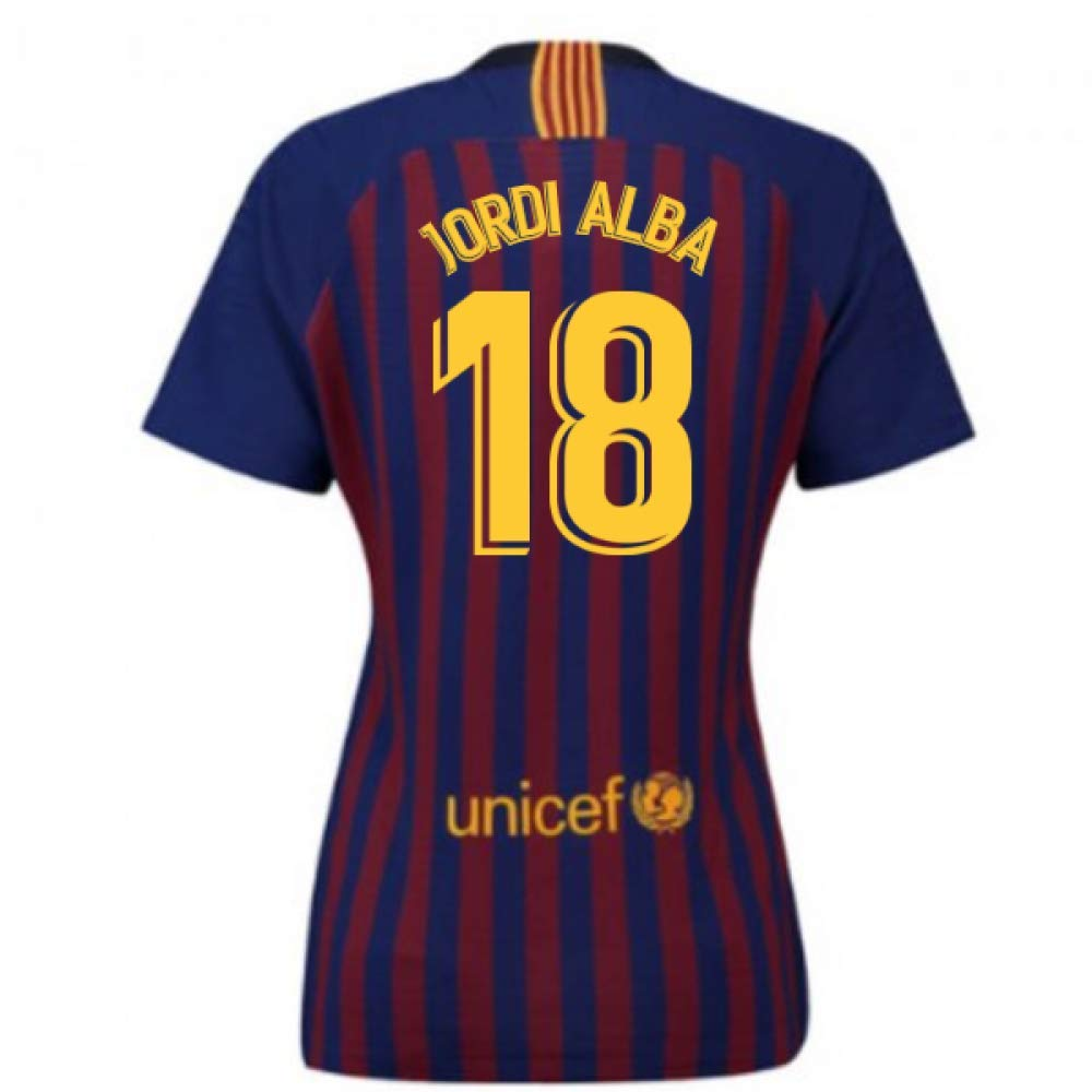2018-2019 Barcelona Home Nike Ladies Football Soccer T-Shirt Trikot (Jordi Alba 18)