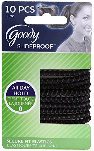 Goody Slide Proof 4MM Elastics, Black 10 ea (Pack of 12) by Goody