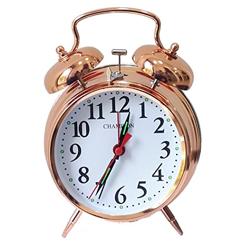 Champion Double Bell Keywound Alarm Clock Large Rose Gold Metal Case