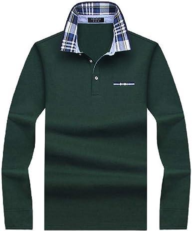 Algodón Casual Hombres Polo Camisa de Manga Larga para Hombre ...