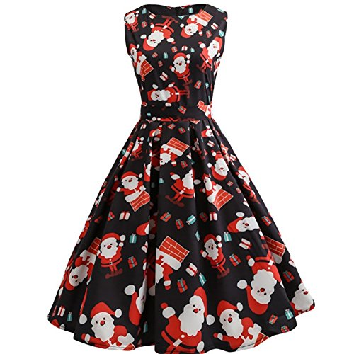 Women Vintage Sleeveless Christmas Pattern Print Skater Cocktail Dress with (Unique 80s Fancy Dress)