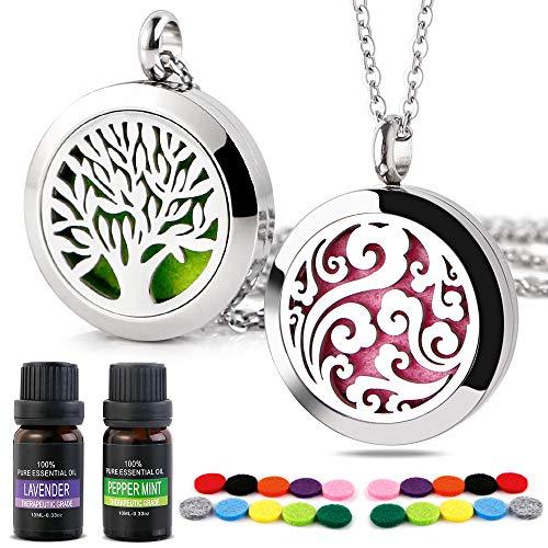 RoyAroma Essential Oil Necklace Gift Set, 2PCS Aromatherapy Essential Oil Diffuser Necklace Two Patterns Pendant Locket Jewelry, 23.6