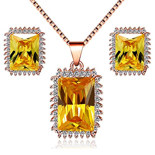 Uloveido Women Rose Gold Plated Emerald Cut Simulated Citrine Necklace Set Champagne Yellow Cubic Zirconia CZ Stud Drop Earrings November Birthstone Wedding Bridal Bridesmaid Jewelry Set Y446