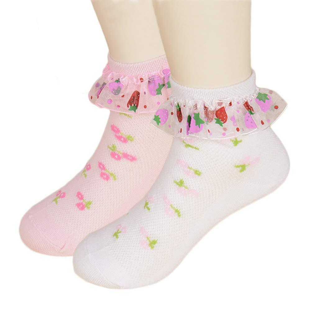 DoMii Toddler Girl Ankle Socks Lace Eyelet Frilly Socks with Ruffles 2 Pack