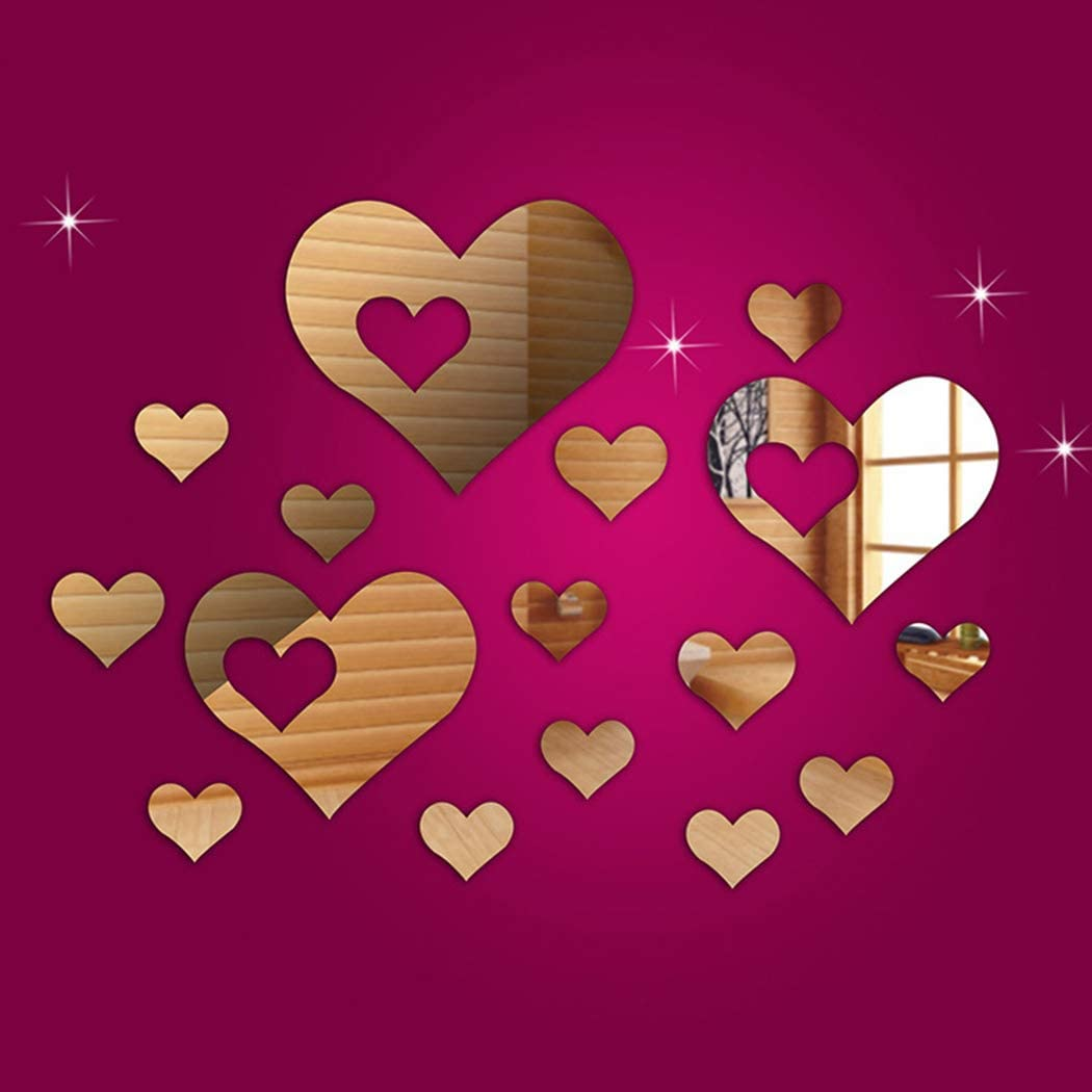 HOODDEAL Acrylic Heart-Shaped Mirror Wall Stickers Plastic Removable Heart Art Decor Wall Poster Living Room Home Decoration,Multi-Size (15PCS, Silver)