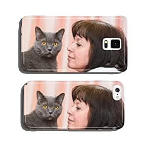 brunette woman with a British cat cell phone cover case Samsung S6