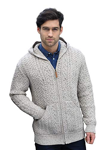 West End Knitwear Irish Merino Wool Men's Hooded Aran Zip Sweater Coat (XX-Large, ()