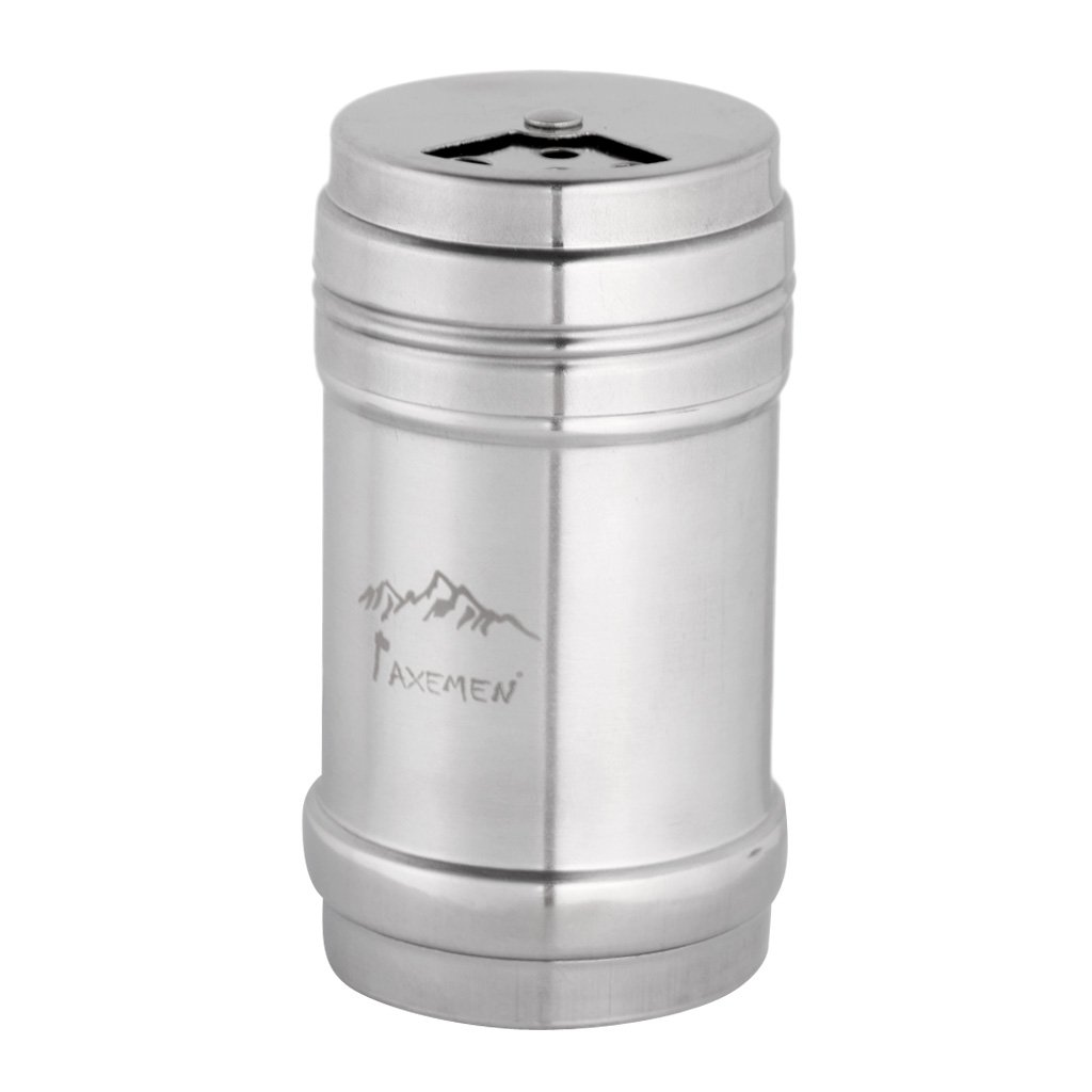 Jili Online Salt & Pepper Spice Sugar Shaker Dispenser Food Grade Stainless Steel for Camping / Home - Silver, Small