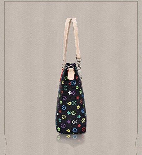 Bag Slung Shoulder Bag With Handbag,Black,Six Piece Set by SJMMBB (Image #1)