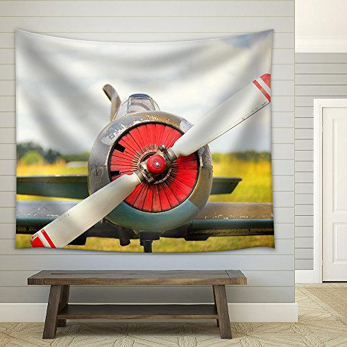 View on Propeller on Old Russian Airplane on Green Grass Fabric Wall