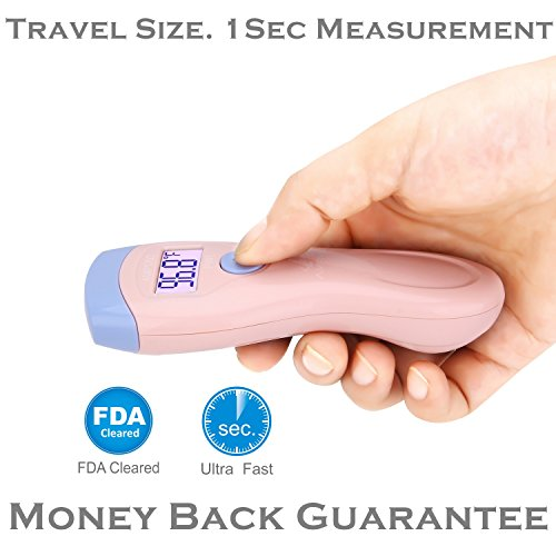 Amplim CE FDA Approved Medical Hospital Grade Non Contact Infrared Forehead Thermometer. Best New Baby/Kid/Infant/Toddler/Child/Adult/Professional/Clinical Digital No Touch Travel Fever Thermometer from Amplim