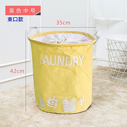 Luckyfree Panier à linge en coton d'vêtements sales jouets Panier Panier de rangement, snack-Débris Medium 35 * 42cm 40L, bande jaune