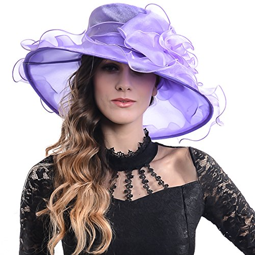 Women Sheer Kentucky Derby Church Wide Brim Hat with Larg...