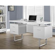 "Monarch Specialties I 7081 White Hollow-Core/Silver Metal Office Desk, 60"""
