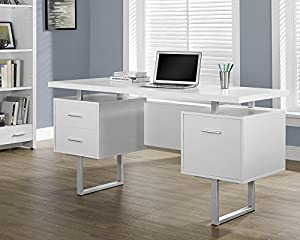 white office table. monarch specialties white hollowcoresilver metal office desk 60inch table d