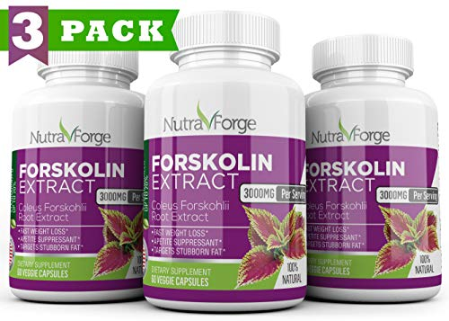 Pure Forskolin 3000mg Max Strength – Forskolin Extract for Weight Loss – Premium Appetite Suppressant, Metabolism Booster, Carb Blocker Fat Burner for Men and Women 3 Pack