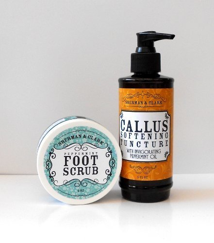 Sherman & Clark Foot Care Set - Callus Softening Tincture and Peppermint Foot Scrub by Sherman and Clark