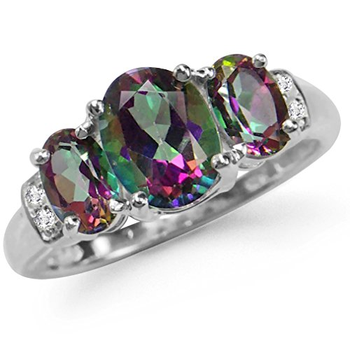 Mystic Topaz 3 Stone Ring - 2.62ct. 3-Stone Mystic Fire Topaz 925 Sterling Silver Ring Size 6