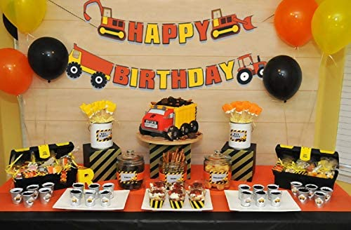 Sensational 16 Pcs Jevenis Construction Truck Birthday Cake Decoration With Personalised Birthday Cards Beptaeletsinfo