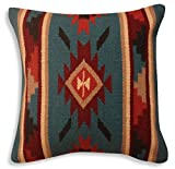 Southwest Boutique Hand Woven WOOL Throw Pillow Cover Southwest Mexican Tribal Native American Style (Tesoro)