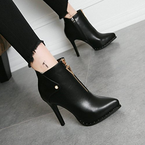 AJUNR-Ladies New Fashion Shoes A Fine With The Club In Waterproof Boots Taiwan Side Zipper Slim Biker Boots Elegant All-Match Chelsea Boots Black ZBzpR7AeJ