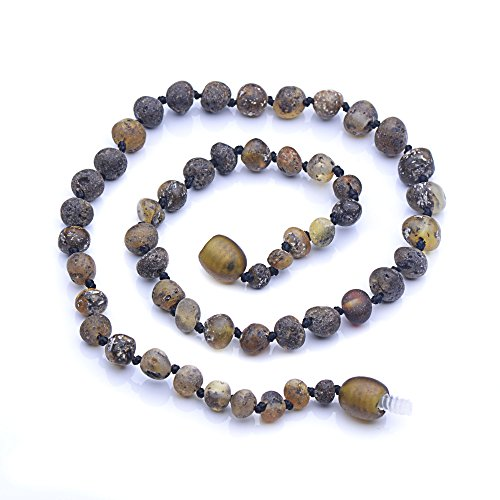 Genuine Amber - Baby Unisex Teething Necklace - 12.6 Inches - Dark Green - 100% Natural Baltic Amber Raw Not Polished Amber Beads - Natural Pain Relief - Knotted Between Beads - Plastic Screw Clasp (Vintage Plastic Necklace)