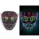 EL Wire Mask Flashing Cosplay LED MASK Glowing Cat mask Costume Anonymous Mask for Glowing Dance Carnival Party Masks Halloween Decoration