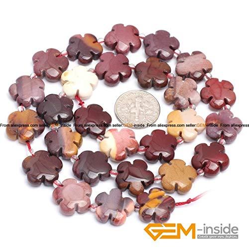 "Calvas 15mm Flower Shape Natural Stone Beads:Jades Quartzs Aventurine Agates Fluorite Mookaite Jaspers Sodalite Strand 15"" Wholesale - (Color: mookaite Jasper)"