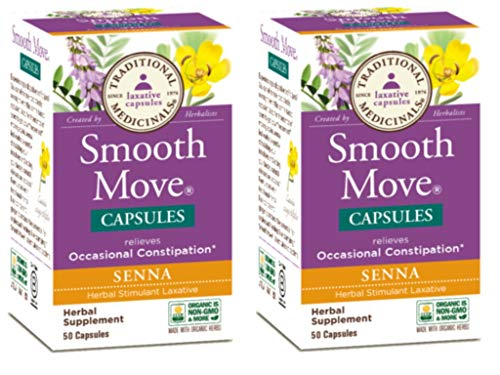 Traditional Medicinals Smooth Move Senna Capsules, 50-Count Bottle (Pack of 2) (Smooth Capsules Move)