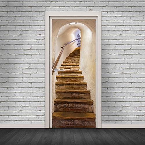 fenjinsheng Vinilos para Puertas Vinilo Puerta Escaleras De Caracol 3D Adhesivos Decorativos Adhesivos De La Puerta DIY Adhesivos Impermeables Extraíbles De La Puerta: Amazon.es: Hogar