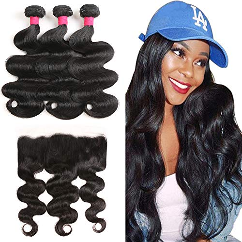 Brazilian Body Wave Bundles with Frontal (12 14 16+12) Ear to Ear Lace Frontal With Bundles,100% Brazilian Virgin Human Hair Extensions Lace Frontal with Baby Hair (Ear To Ear Lace Frontal With Bundles)