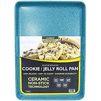 casaWare 13 x 9 x 1-Inch Ultimate Series Commercial Weight Ceramic Non-Stick Coating Cookie/Jelly Roll Pan (Blue Granite)