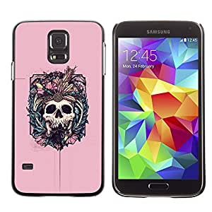 Colorful Printed Hard Protective Back Case Cover Shell Skin for SAMSUNG Galaxy S5 V / i9600 / SM-G900F / SM-G900M / SM-G900A / SM-G900T / SM-G900W8 ( Pink Skull Fangs Death Bones Floral )