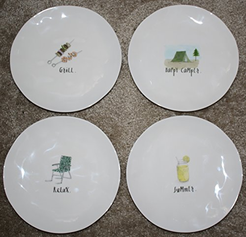 Rae Dunn Happy Camper. 4 Plate Set of 8 inch Melamine Accent Dinner Dessert Plates with Graphics. Happy Camper Grill Summer and Relax. Artisan Collection by Magenta.